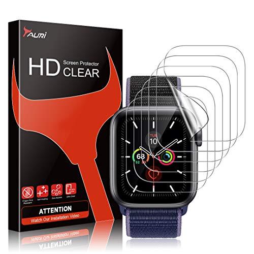 TAURI 6 Pezzi Pellicola Protettiva Compatibile con Apple Watch Series 6 5 4 SE 40mm Pellicola Protettiva in TPU HD Trasparente Senza Bolle Installazione Facile