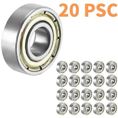 Rodamientos para monopatín 608 ZZ, Sackorange 608zz con doble blindaje, rodamientos de bolas en miniatura 8x22x7 (paquete de 20)