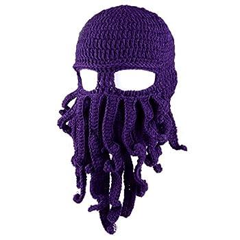 Queenbox Tentacle Octopus Cthulhu Knit Beanie Hat Fisher Cap Wind Ski Mask Purple