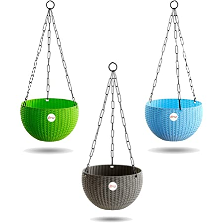 Kraft Seeds Hanging Planter Euro Elegance Round Solid Look and Feel Pots for Home & Balcony Garden 17.5cm Diameter (Pack of 3), Colorful Set