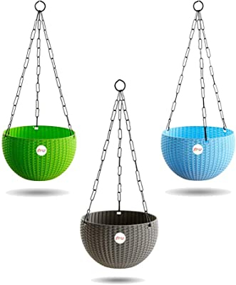 Kraft Seeds Hanging Planter Euro Elegance Round Solid Look and Feel Pots for Home & Balcony Garden 17.5cm Diameter (Pack of 3)