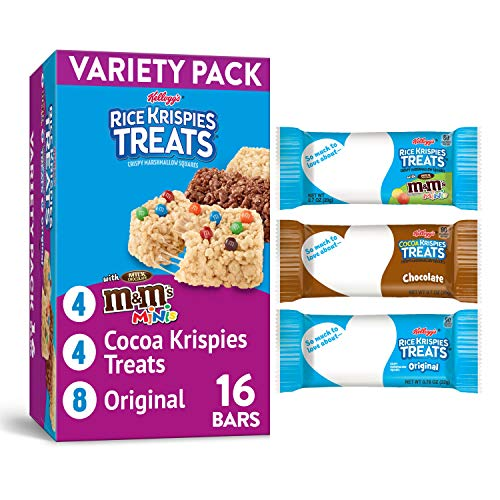 Kellogg#039s Rice Krispies Treats Crispy Marshmallow Squares Variety Pack with Writable Wrappers 124oz Box 16 Count