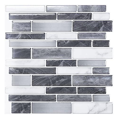 Art3d Set di 10 pezzi, Piastrelle da parete autoadesive, Piastrelle adesive nere e grigie con motivo di marmo per cucina, bagno, effetto mosaico, 30x30cm