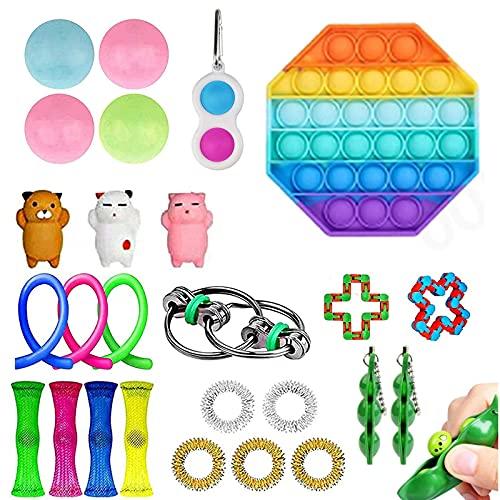27 Pack Sensory Fidget Toys Set,Simple dimple Fidget Toy Fidget Pack for Kids or Adults,School Classroom Rewards, Carnival Prizes,Stress Relief Kits (A)