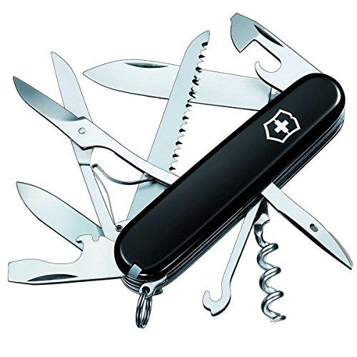 Victorinox Huntsman Taschenmesser, 15 Funktionen, Schere, Holzsäge, Korkenzieher, schwarz B1