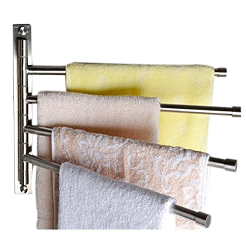 Tebery 304 Brushed Stainless Steel Swivel Towel Bar, Storage Organizer Folding 4 Arm for Bathroom Holder, Wall Mounted - 15 inch