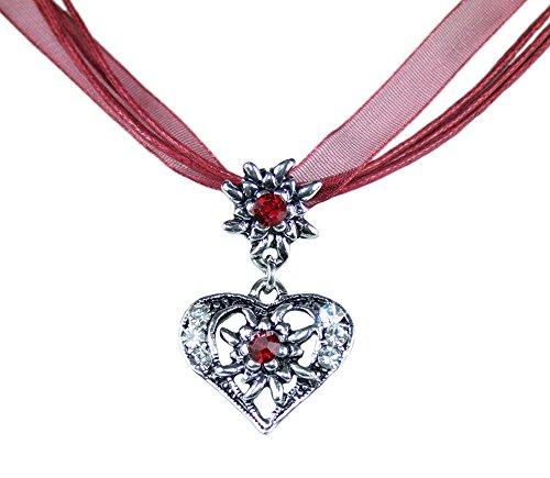 Trachtenland Halskette Davina mit Edelweiß und Herzanhänger - Dunkelrot
