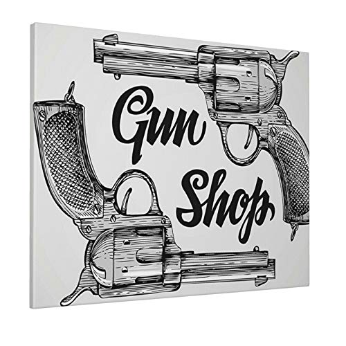 """Hat&C Western Decor Modern Western Movies Cowboy Texas Times Sketchy Two Guns Pistols Image Black and Whitepainting 16"""" X 20"""" Panoramic Canvas Wall Art"""