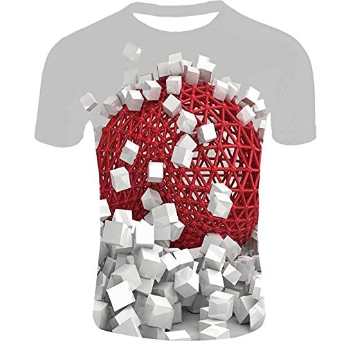 3D gráfico creativo camisa caída de la pared hombres niños personalizado casual t shirt crewneck manga corta tops camisetas (Color : TM0430, Size : XXXX-Large)