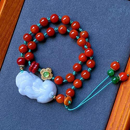 WCOCOW Feng Shui Riqueza Pulsera de Piedras Preciosas Natural Jadeite Pixiu Pi Yao Red Jade Lotus Long Long Multilayer Pulsera Estirar Pulsera Amuleto Atrae la Suerte del Dinero