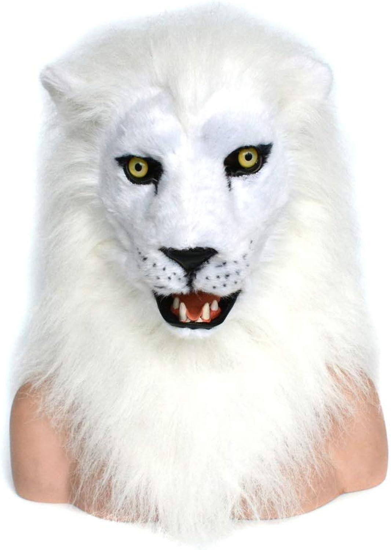 producto de calidad YIJIAN-MASK MasCochea Peluda Animal CosJugar MásCochea de de de Animales león blancoo MásCochea de Boca móvil con Pelaje Decorado o Halloween y Fiesta MásCochea de Animales Diverdeidos MásCochea de Cuello Animal  de moda