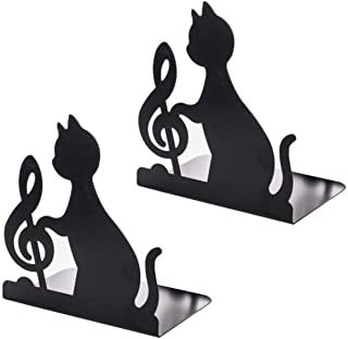 (bellarino)ブックスタンド 本立て 仕切り 黒猫 ブックエンド 金属製 卓上収納 本棚 机上収納 事務用品 オフィス L型 2枚1組 ブラック