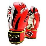 Guantes de boxeo de Athletics Gear – 6 oz a 16 oz Maya Hide cuero diseño perfecto y ajuste con sistema de cierre de sujeción para combates MMA, lucha, kickboxing, y perforación (rojo, 14 onzas)
