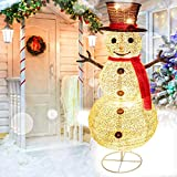 Brightown 48 Inch Pre Lit Christmas Snowman with Warm White Lights - Lit Snowman with Hat Outdoor Foldable Built in C7 String Lights 90 Inches for Xmas Holiday Yard Commercial Display Decorations