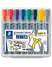 STAEDTLER 356 SWP8 Lumocolor flipchart markery, pudełko na biurko w 8 różnych kolorach, końcówka kulowa i końcówka dłutowa