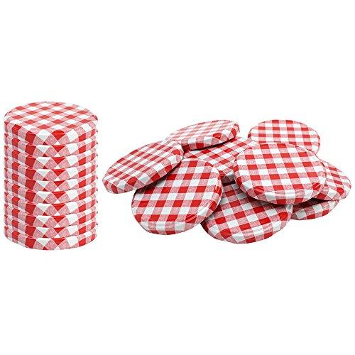 com-four® 20x Couvercles pour les pots en verre - couvercles blanc/rouge quadrillé pour des pots yaourt - couvercle alimentaire - TO 82 mm (0020 pièces - TO 82 mm à carreaux rouge/blanc)