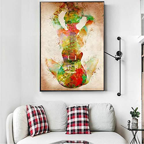 Leinwand Malerei Wandkunst Poster drucken abstrakte Figur mit Gitarre Bilder Wohnzimmer Home Decor 30x42cmx1pcs