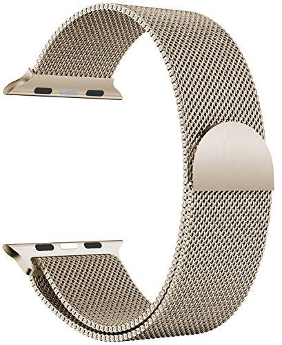 Correa magnética de acero inoxidable dorado champán, 38 mm, 40 mm, correa de metal para iWatch Series 6/5/4/3/2/1