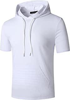 Men's Sports Gym Hoodies Solid Color Short Sleeved Tops with Pockets Sweatshirts