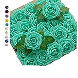 GeeSoft Artificial Flowers Blue Fake Roses Bulk Rose Flower Heads 50 PCS w/Stem for Crafts Bouquets for DIY Wedding Decorations Centerpieces Arrangements Party Home Garden Decor (Tiffany Blue, 50pcs)