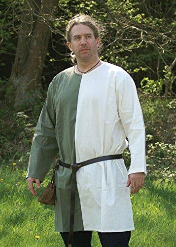 Moyen-âge Tunique bicolore en coton LARP couleur vert/blanc Taille S à XXL, vert/blanc