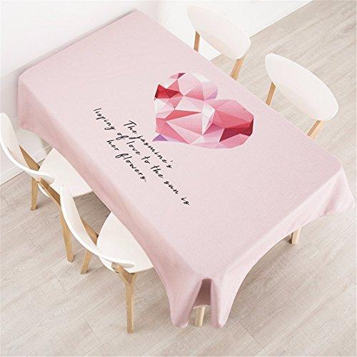 HXC Home tafelkleed, 140 x 140 cm, Pink Heart Scandinavisch design, katoen