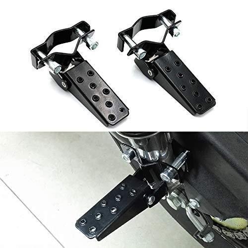 Reposapiés de motocicleta Negro retro-Clamp en la motocicleta Clavijas Eje de acero plegable del pie Paso compatibles con el pedal MTB BMX Bicicleta plegable Reposapiés estribera universal Agarre esta