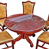 Glzcyoo Protector de Mesa Redonda de PVC Grueso ecológico Mantel Redondo de plástico Transparente Muebles limpiable Cubierta Impermeable Almohadilla de protección Resistente al Agua Protector