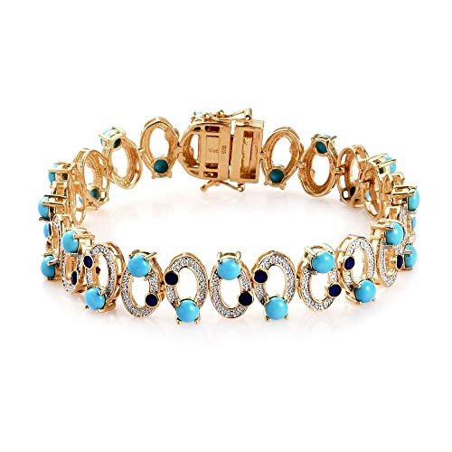 AA Sleeping Beauty Turquoise Enamelled Infinity Bracelet Size 7.5 in 14ct Gold Plated Sterling Silver 7.00 Ct, Silver wt 18.00 Gms