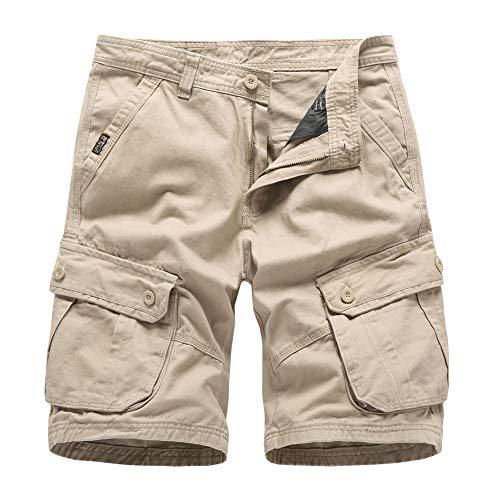 Pantalones Cortos Hombre Bermudas Cargo Pantalones Verano Casual Algodón Pantalón Corto Caqui 36