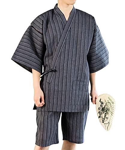 [ 京都きもの町 ] KIMONOMACHI オリジナル メンズ 甚平 黒白縞 綿麻甚平 Mサイズ 父の日 ギフト プレゼント 部屋着 ルームウェア 大きいサイズ