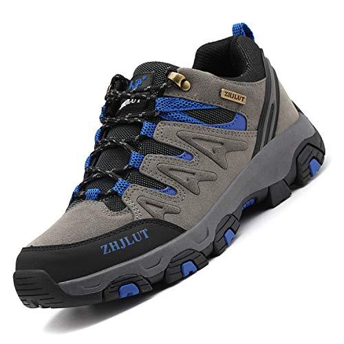 Unitysow Wanderschuhe Trekking Schuhe Herren Damen Sports Outdoor Hiking Sneaker Atmungsaktiv Turnschuhe Walking Wandern Anti-Rutsch Schuhe für Unisex Gr.35-47,Grau-2,Gr.47