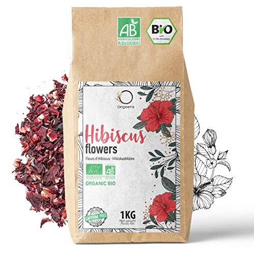 ORIGEENS HIBISCUS BIO 1kg Grade Supérieur | Fleur Hibiscus pour Bissap, Thé glacé, Infusion et Tisane | Cure Detox Drainante | Fleurs d'Hibiscus Séchées Bio