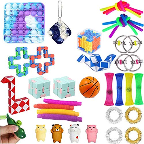 Sensory Fidget Toys Set, Fidget Toys Pack, Billig Fidget Toy Set, Anti-Stress Fidget Toy, Stress Relieve und Angst Fidget Toy Box für Kinder Erwachsene (Fidget Toy Set-B)