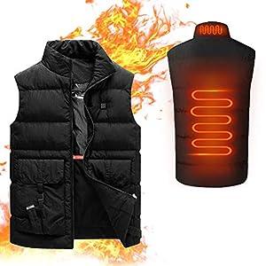 Chaleco calefactor, chaleco calefactor USB eléctrico unisex, chaleco calefactor eléctrico, traje calefactor de carga USB, chaleco ligero cálido y frío, adecuado para deportes al aire libre,Negro,M