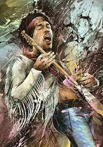 FFXXCC 3D Rock Singer Jimi Hendrix Digital Painting(40x50cm),5D DIY Digital Painting By Number Kit,Adult Children Mosaic Painting Canvas Oil Painting Poster Home Wall Decoration Art Ornaments