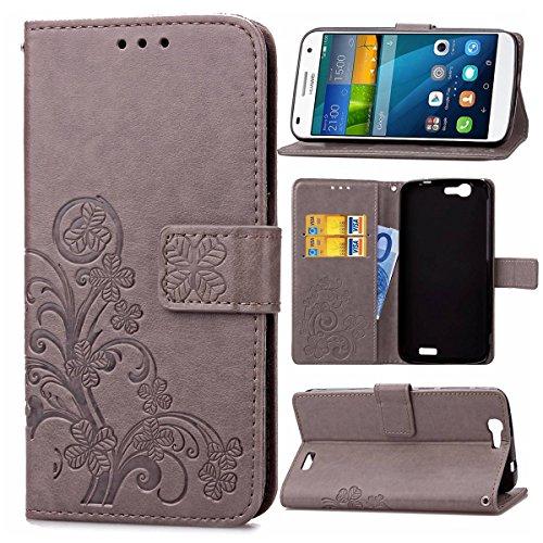 pinlu Funda para Huawei Ascend G7 (5.5pulgada) Función de Plegado Flip Wallet Case Cover Carcasa Piel PU Billetera Soporte con Trébol de la Suerte Gris