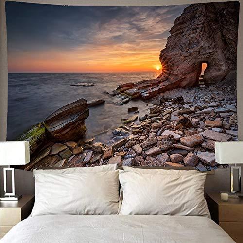 Vista al mar paisaje de arrecife tapiz barato arte psicodélico colgante de pared toalla de playa mandala manta fina tela de fondo A1 180x200cm