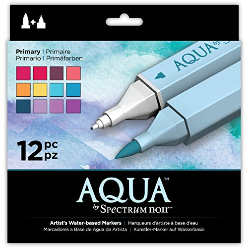 Spectrum Noir Aqua Artist's Water Based Dual Nib Marker Coloring Pens, Primary, Pack of 12, None