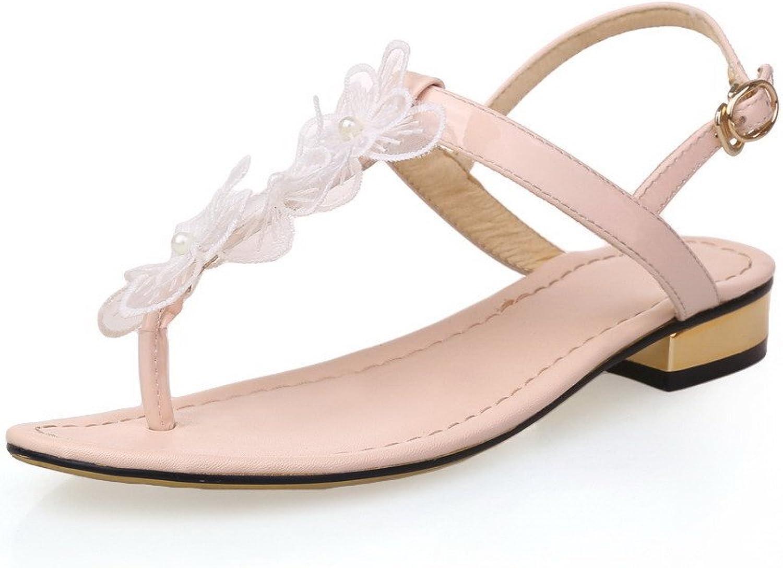 AmoonyFashion Women's Solid Cowhide Low-Heels Split-Toe Buckle Sandals