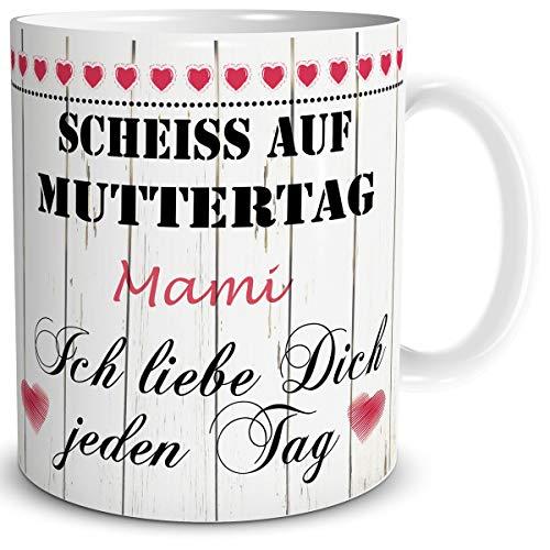 TRIOSK Tasse Mama mit Spruch lustig Scheiß auf Muttertag Mami Ich Liebe Dich Geschenk für Beste Mutter Geburtstag Muttertaggeschenk