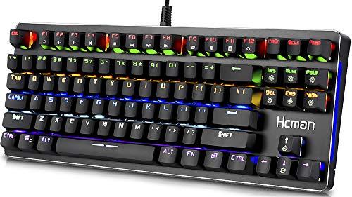 Hcman Mechanische Gaming Tastatur, US Layout Mechanical Keyboard Blue Switches,PC Gaming Keyboard von 21 Verschiedene beleuchtete Modi für Computer oder Mac, 87 Tasten (Regenbogen)