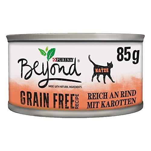 PURINA BEYOND Katzennassfutter getreidefrei, mit Rind und Karotte, 12er Pack (12 x 85 g)
