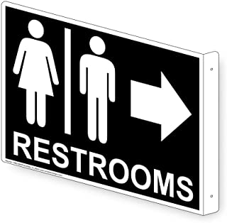 Restrooms Wall Sign, Projection-Mount 9x7 inch Black Aluminum for Public Bathrooms by ComplianceSigns