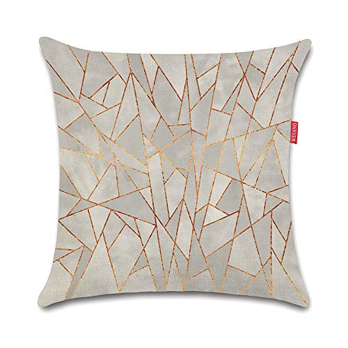 WEIANG Cushion Cover Double-Sided Geometric Pink Grey Painting Throw Pillowcase for Car Home Sofa Bed 45x45cm(18x18inch) one Piece