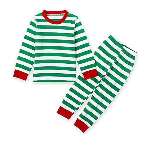 Charm Kingdom Little Boys Girls Long Sleeve Top and Stripe Pants Christmas Pajamas Sets (Green-Stripe, 120 (5-6 Years))