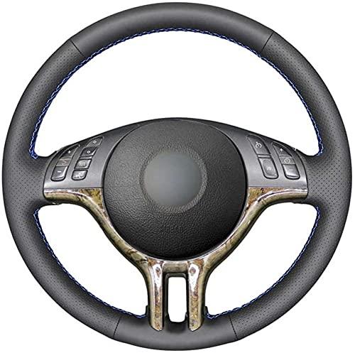 LIUJTAO Coprivolante in Pelle Nera Cucita a Mano, per B-M-W E46 318i 325i 330ci E39 X5 E53 Z3 E36/7 E36/8 (coupé) -Blue_Thread