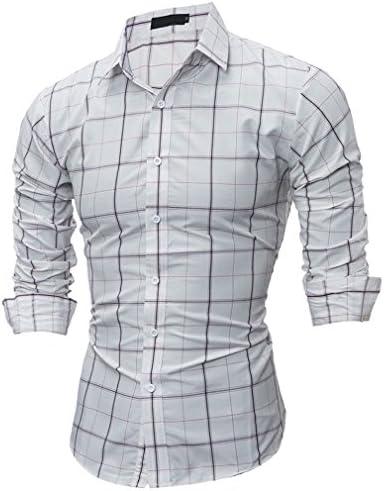 Usopu Camisa de Manga Larga Slim fit Cuadrada Casual de