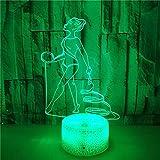 FREEZG lamparitas de noche dormitorio Gimnasia deportes figuras cintas Lámpara de Noche 3D de 7 Colores con Control Remoto Regalos de Cumpleaños para Niños y Adultos