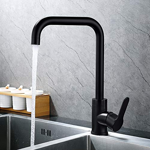 Dutrix Grifo de Cocina Giratorio 360°, Acero Inoxidable Negro Mate Enchapado, Distancia desde la salida de agua al eje de rotación 9.15 inch